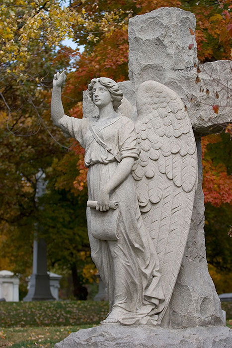 Angel Before the Cross, Bellefontaine Cemetery, Saint Louis, MO //