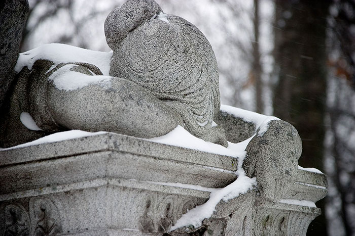 Angel Prostrate on Stone (3), Calvary Cemetery, Saint Louis, MO //
