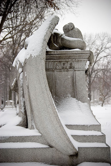 Angel Prostrate on Stone (2), Calvary Cemetery, Saint Louis, MO //