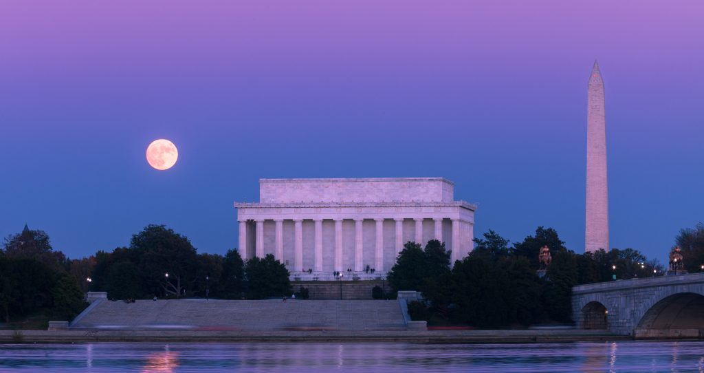 Supermoon over DC Mall