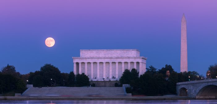 Supermoon over the DC Mall